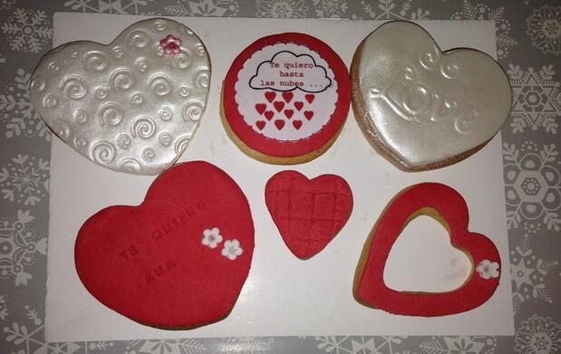 Bandeja 6 galletas fondant San Valentín